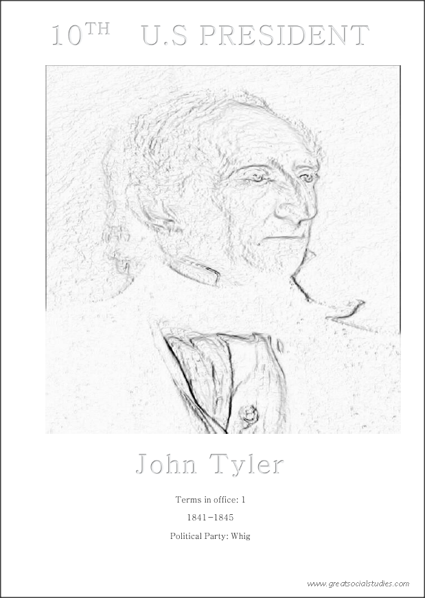 10th US president, John Tyler, free printable coloring sheet