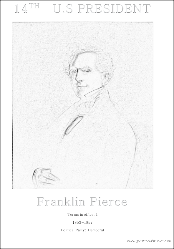14th US president, Franklin Pierce, coloring for children