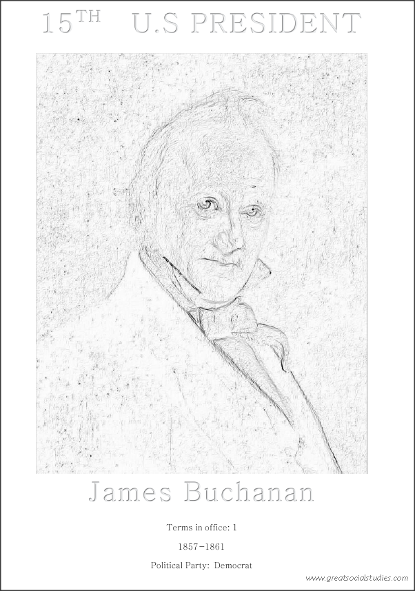 15th US president, James Buchanan, president to color