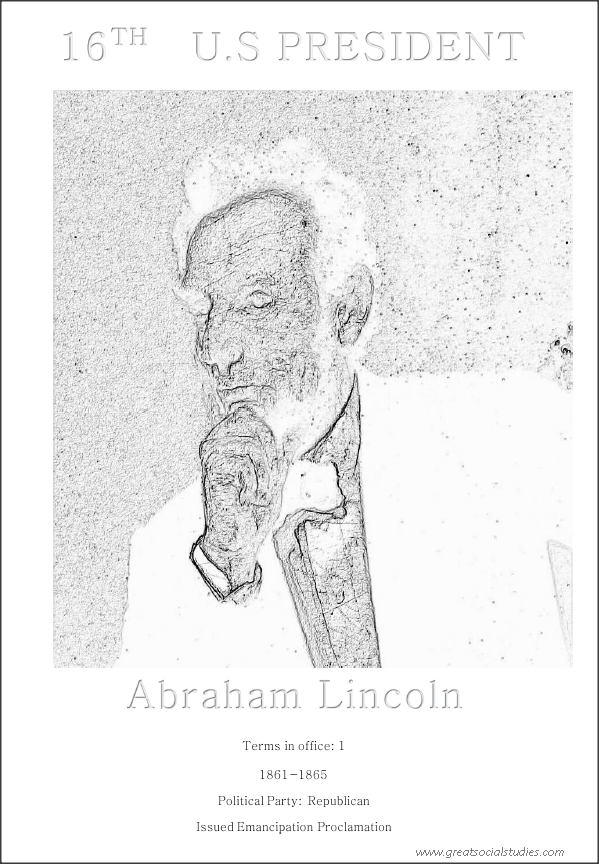 16th US president, Abraham Lincoln, color sheet
