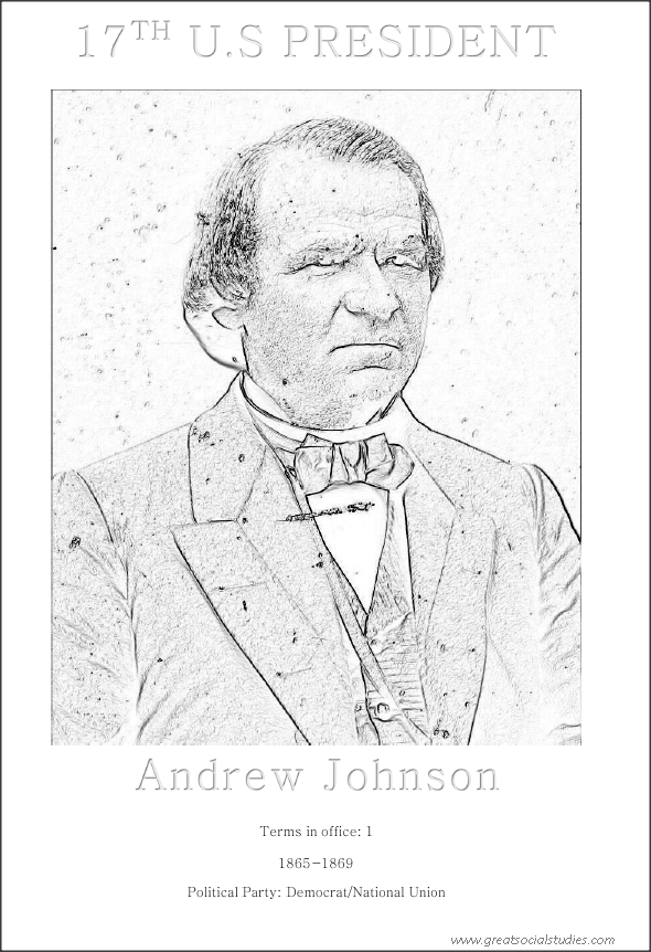 17th US president, Andrew Johnson, image to color