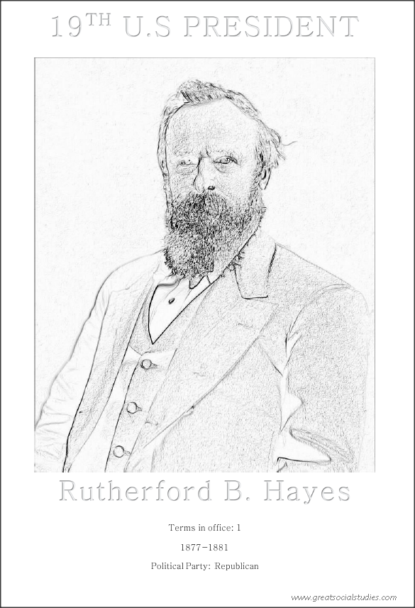 19th US president, Rutherford Birchard Hayes, children coloring
