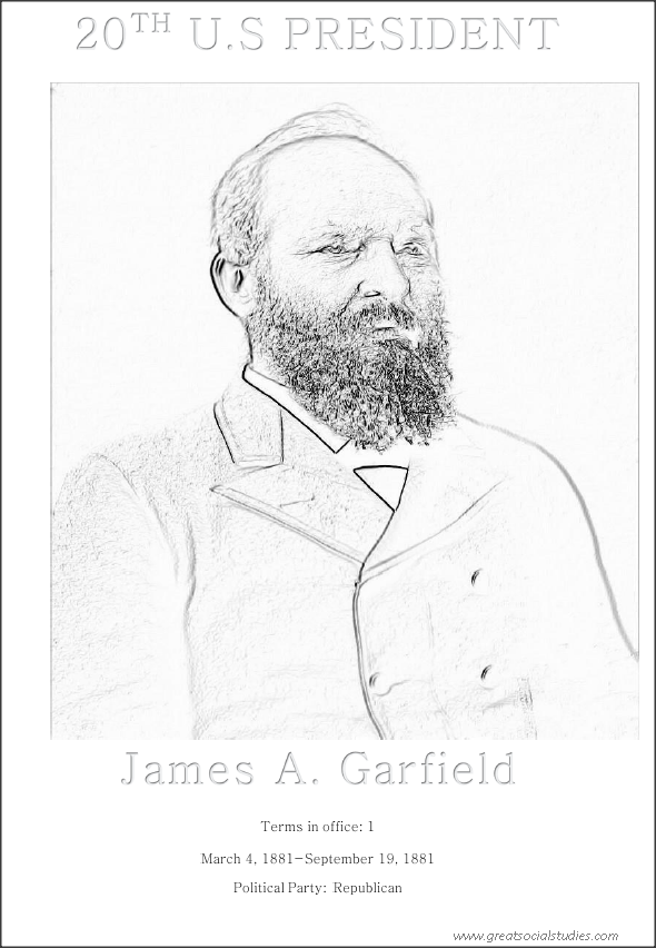 20th US president, James Abram Garfield, colorless image