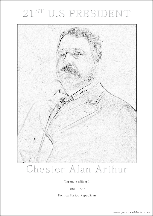 21st US President, Chester Alan Arthur, printable coloring