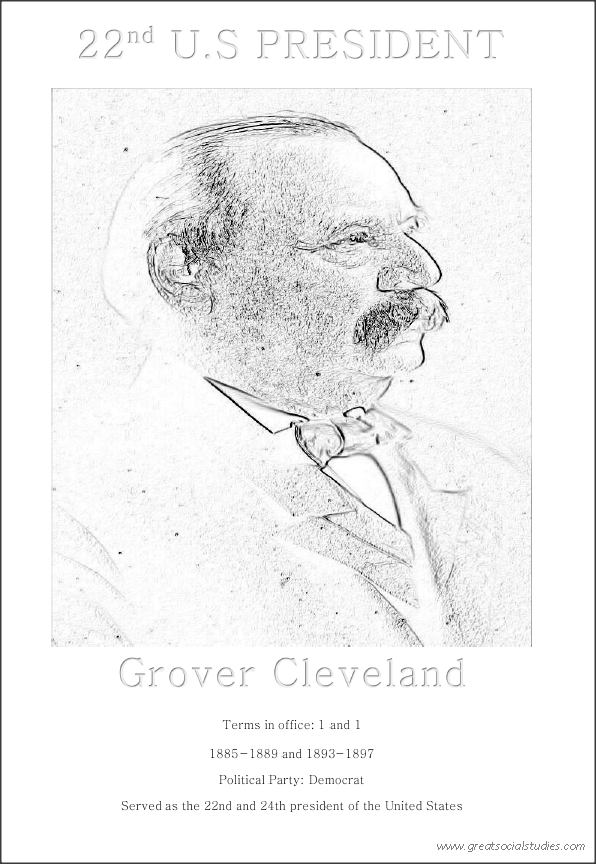 22nd US president, Grover Cleveland, Color for free