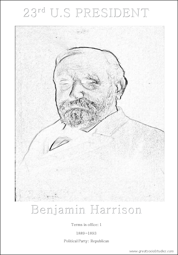 23rd US President, Benjamin Harrison, sheet for kids