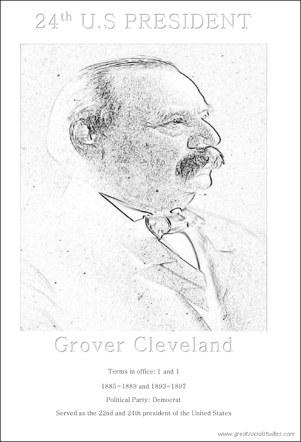 24th US President, Grover Cleveland, kids coloring activity