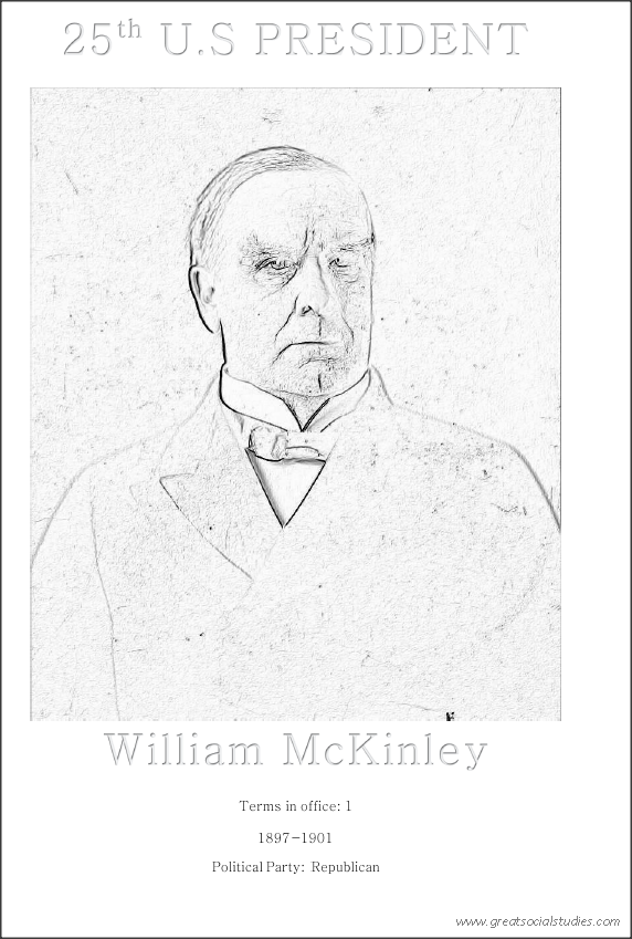 25th US President, William McKinley, picture to color