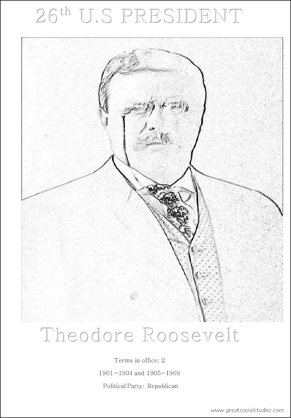 26th US president, Theodore Roosevelt, free color sheet