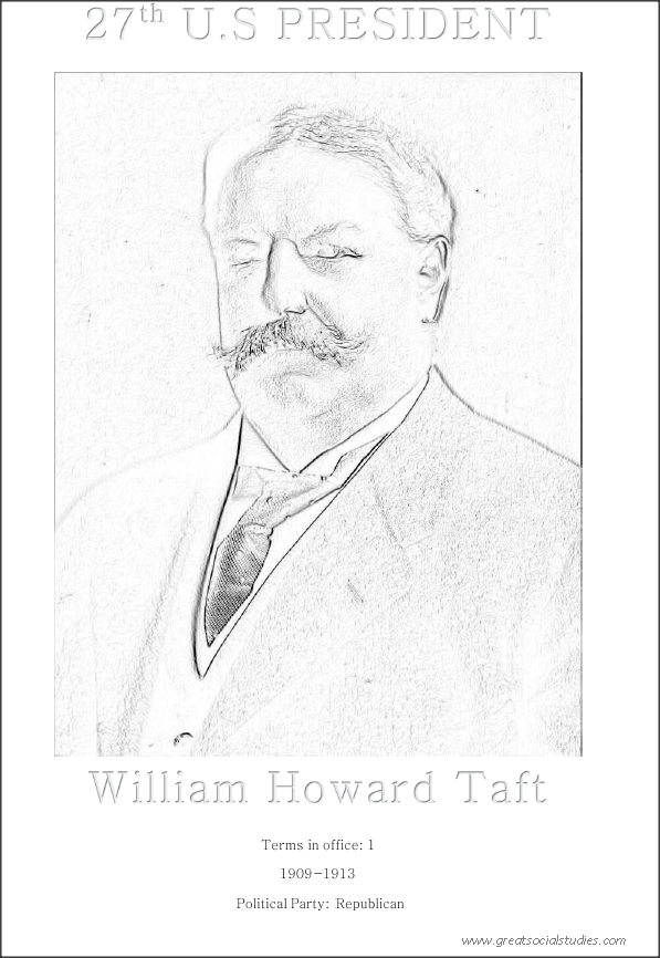 27th US president, William Howard Taft , clothe coloring