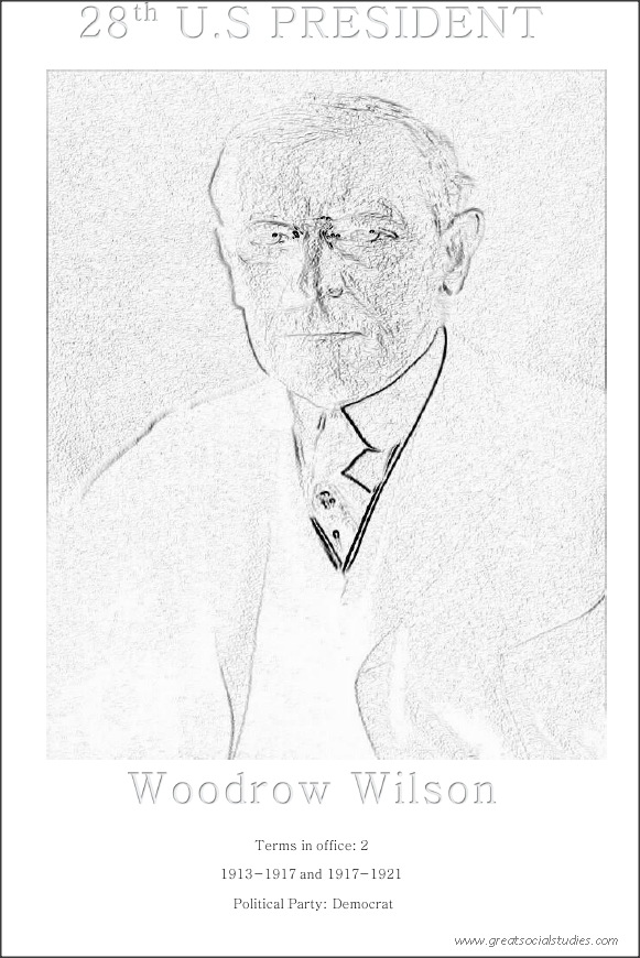 28th US president, Woodrow Wilson, free printable coloring sheet