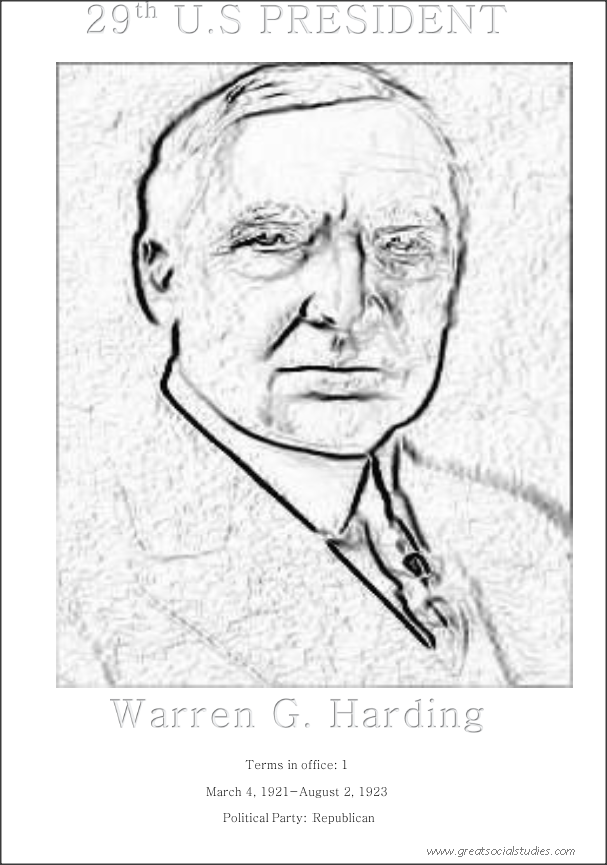 29th US president, Warren G. Harding, printable color sheets