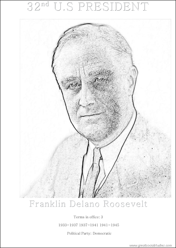 32nd US president, Franklin Delano Roosevelt, preschool coloring sheet