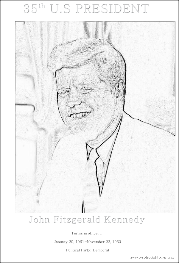 35th US President, John Fitzgerald Kennedy,coloring printable