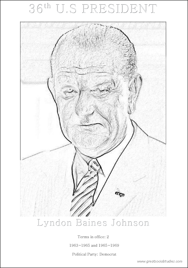 36th US President, Lyndon Baines Johnson, free to color