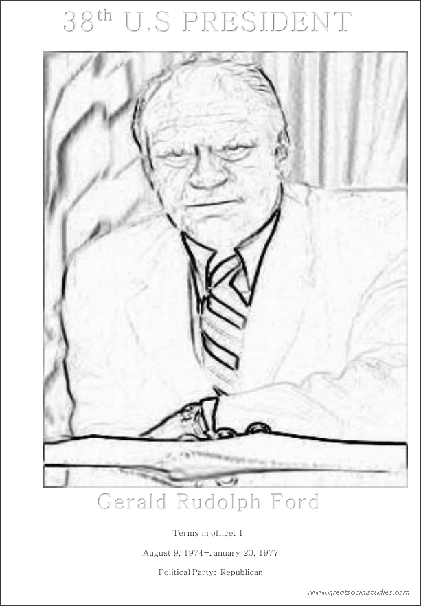 38th US President, Gerald Rudolph Ford, picture to print and color