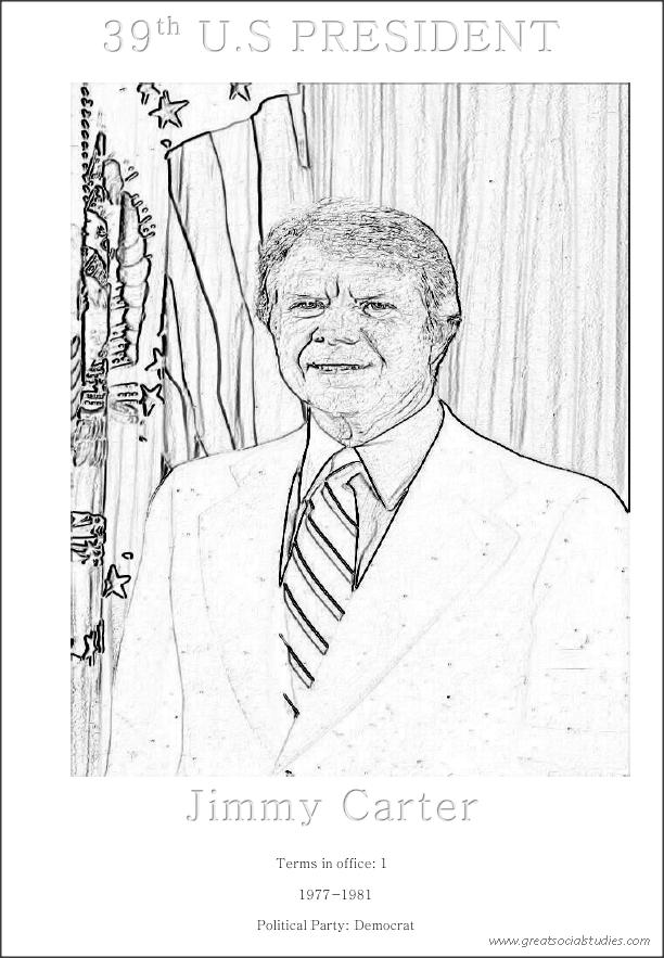 39th US President, Jimmy Carter, printable kids coloring sheet