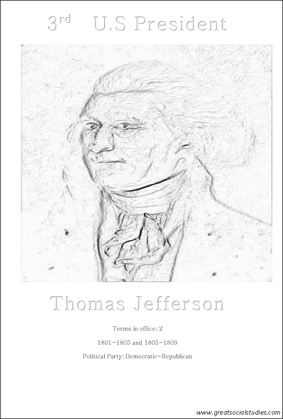 3rd us president, Thomas Jefferson, print and colour