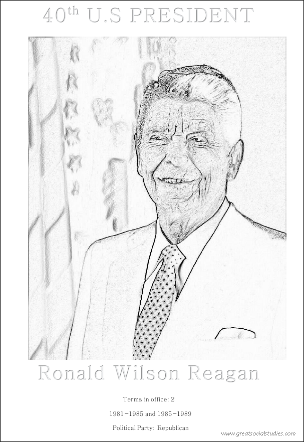 40th US President, Ronald Wilson Reagan, free activity coloring sheet