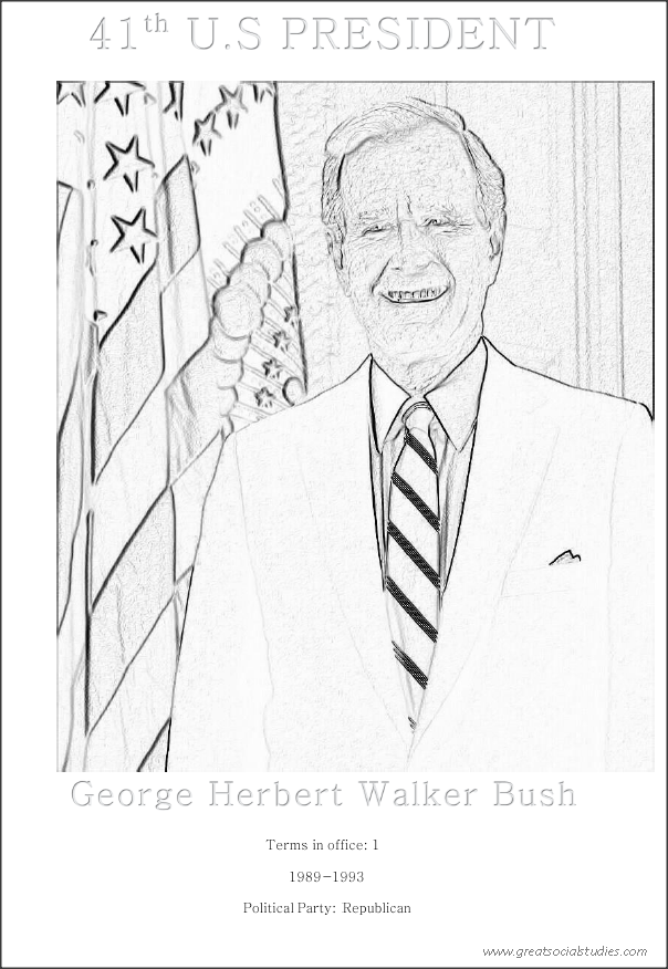 41st US president, George Herbert Walker Bush, teenagers coloring