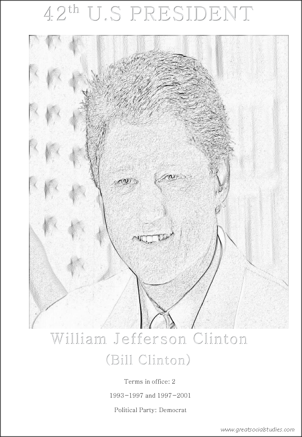 42nd US president, Bill Clinton, coloring sheet free