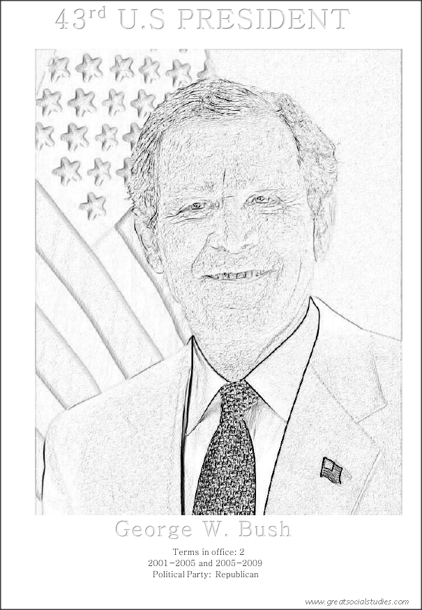 43rd US president, George W. Bush,colorfree sheet