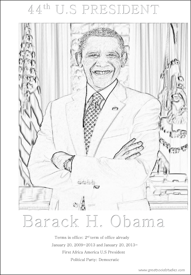 44th US president, Barack H. Obama, teens coloring