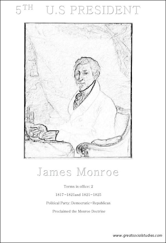 5th US president, James Monroe, kids activity sheet