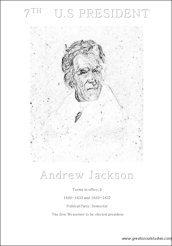 7th US president, Andrew Jackson, kids coloring sheet