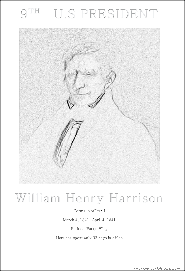 9th US president, William Henry Harrison, coloring for kids