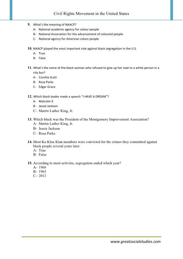 Civil rights movement facts, Civil rights movement leaders, super teacher worksheet