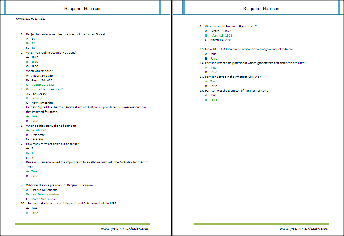 Educational worksheets on Harrison Benjamin Great social studies – Educational Worksheets