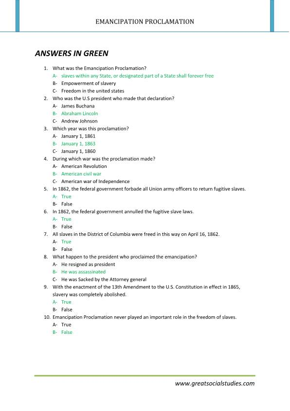 Emancipation proclamation facts, emancipation proclamation summary, work sheet