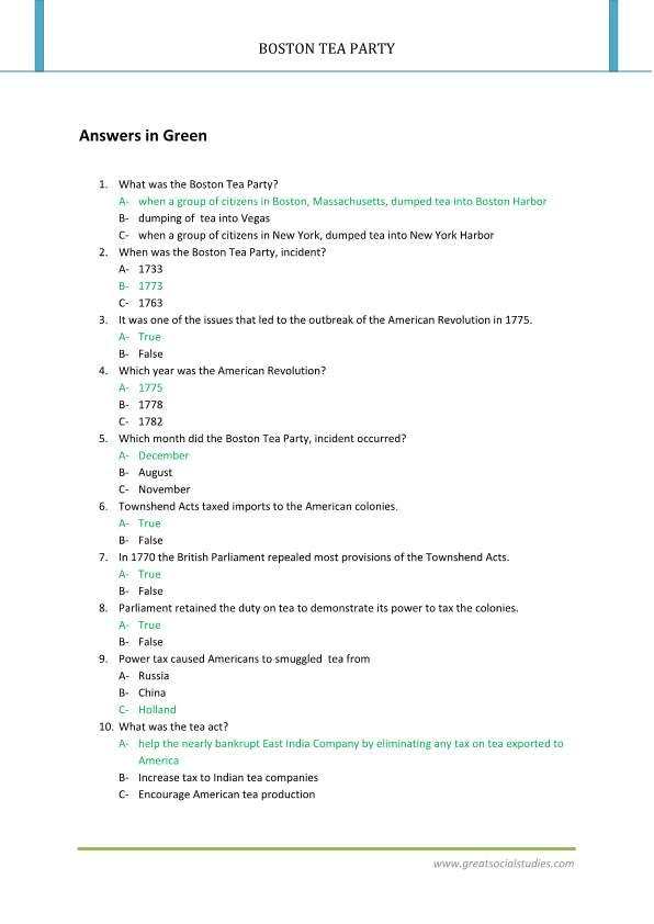 Facts about the Boston tea party Boston tea party summary Boston – Boston Tea Party Worksheets