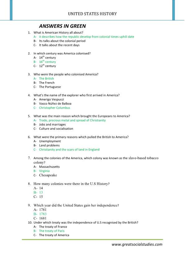 History of United States, history worksheets, United States history facts