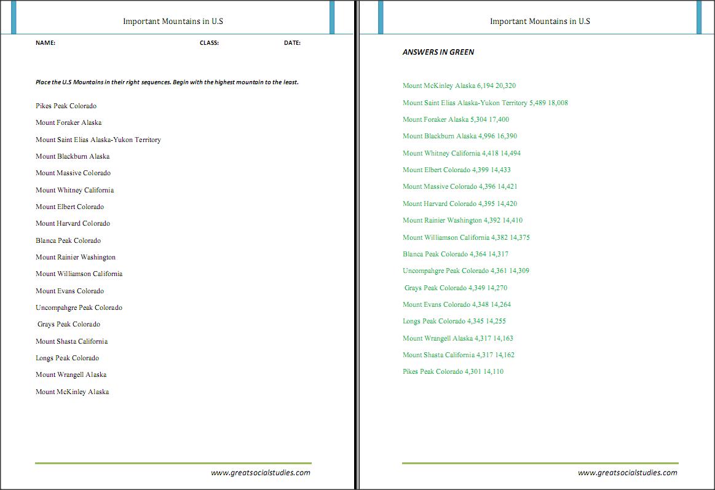 free printable kindergarten worksheets on rockies mountains great