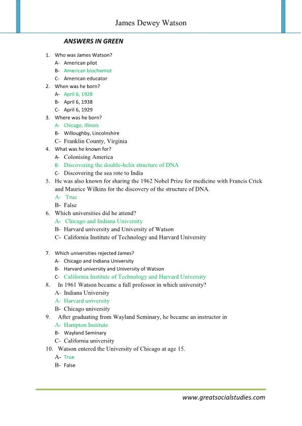 James Dewey Watson, Watson biography, super teacher worksheets