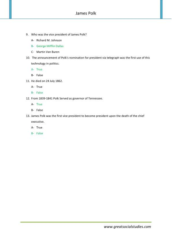 James Polk facts, James Polk, super teacher worksheets