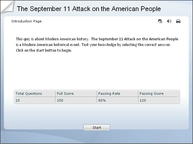 play the quiz on sept 11 2001 attack on the U.S