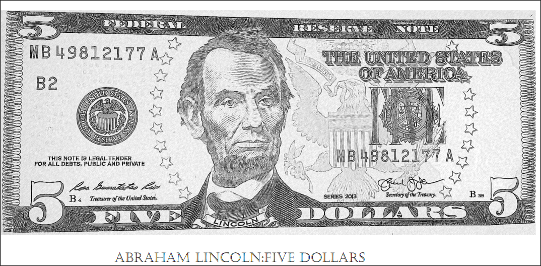 Free coloring on abraham lincoln five dollar bill