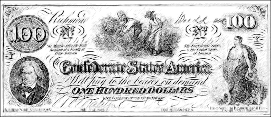 color sheet -confederate currency -confederate 100 dollar ...