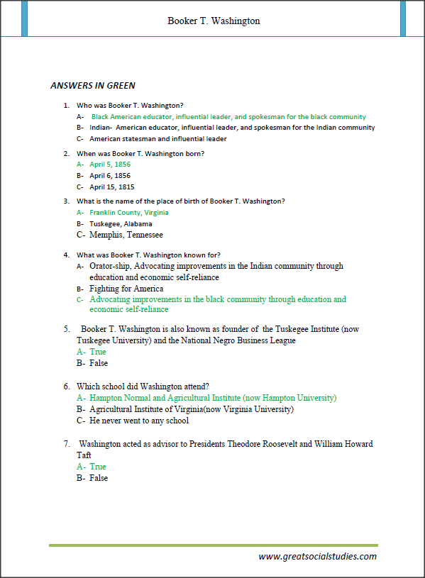 T Washington, Booker TWashington facts,what was booker t Washington famous,teaching worksheets