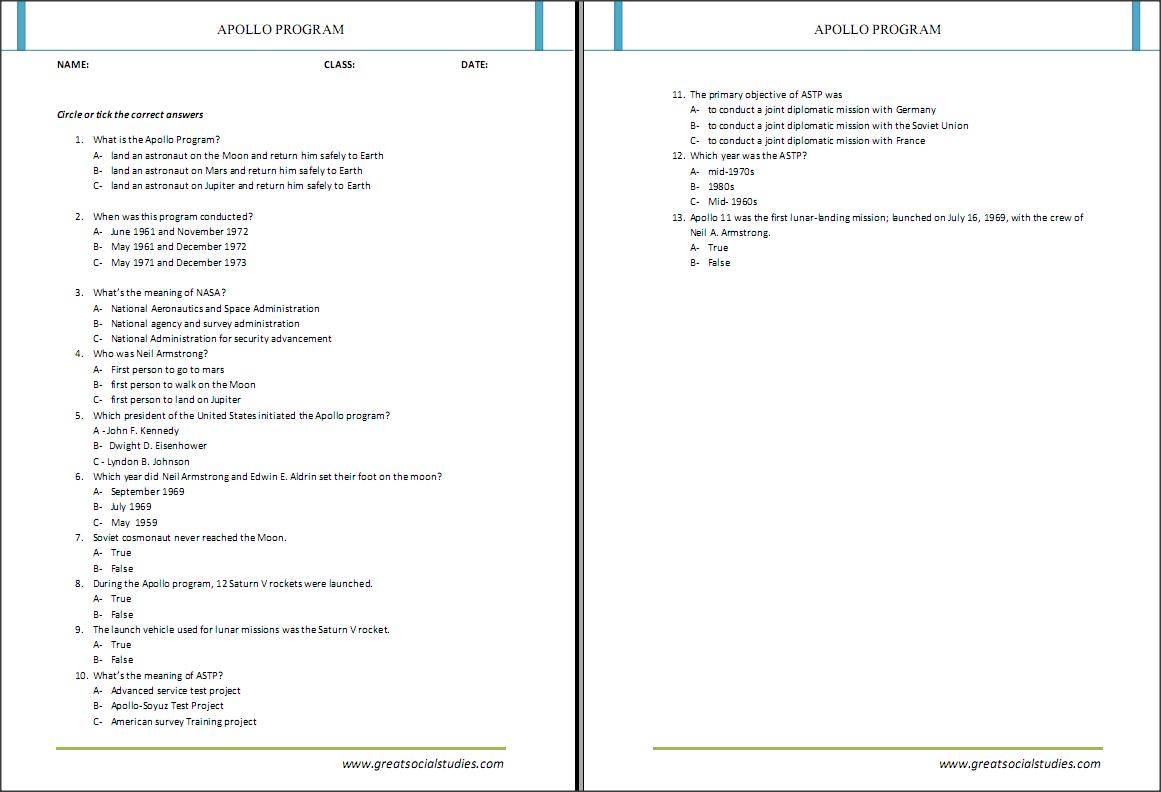Apollo 13 worksheet