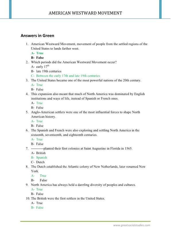 The westward movement in American history, work sheet, summary of westward expansion