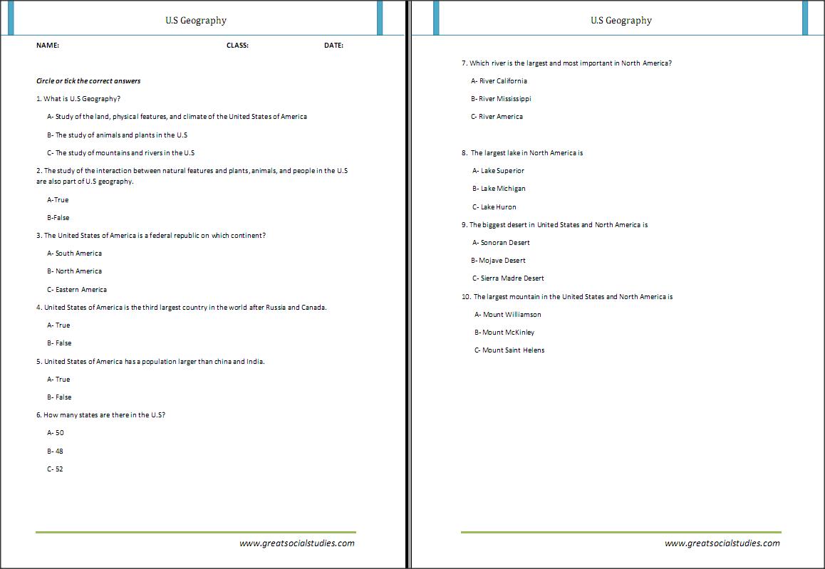 Good Kindergarten printable worksheets on us geography Great – Kindergarten Geography Worksheets
