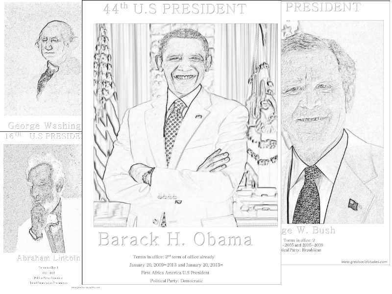 color sheets US presidents