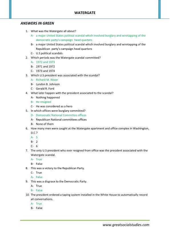 Watergate scandal summary, Watergate affair, student activity worksheets