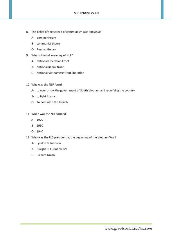 What is the Vietnam War, Facts about Vietnam war, American history worksheets