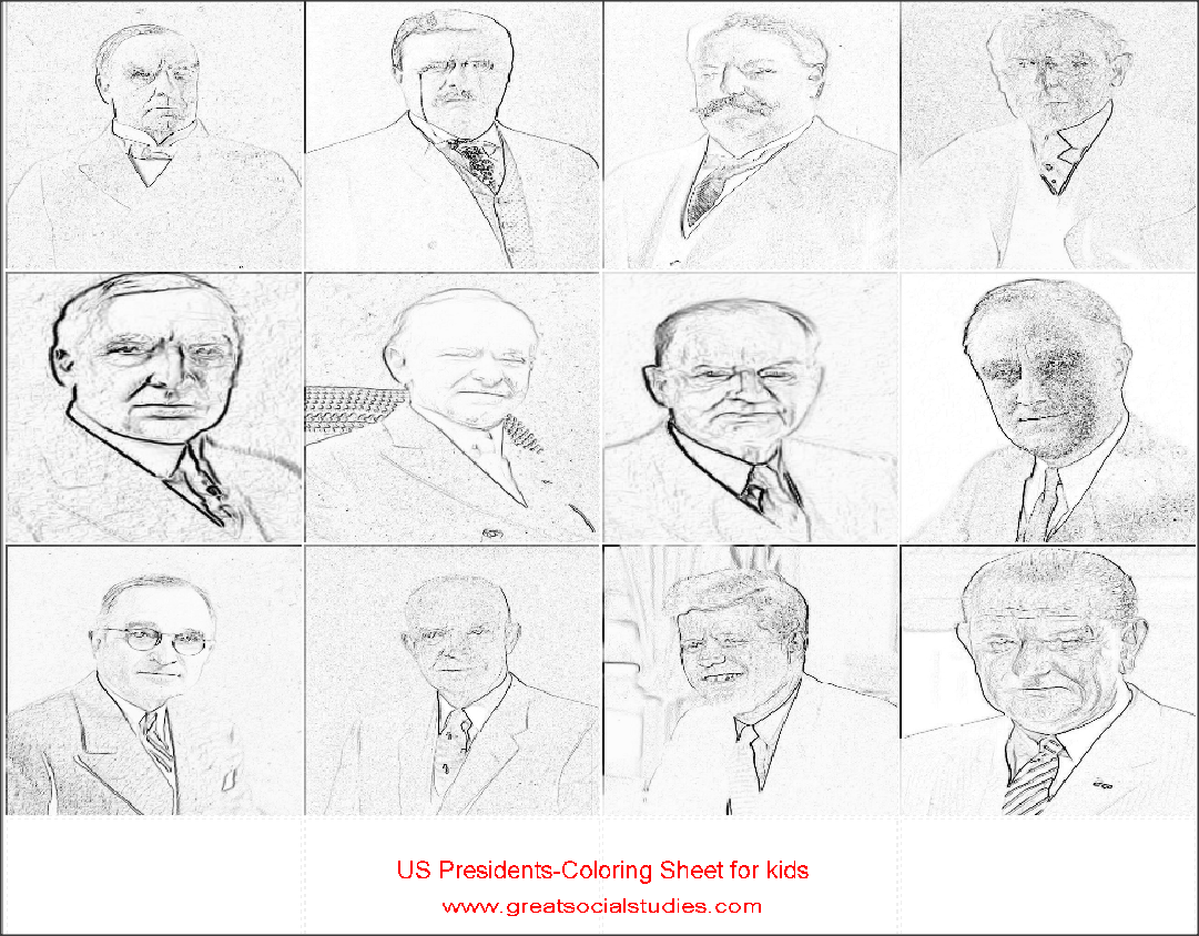coloring sheets for teens, all US Presidents, print to color |Great social studies