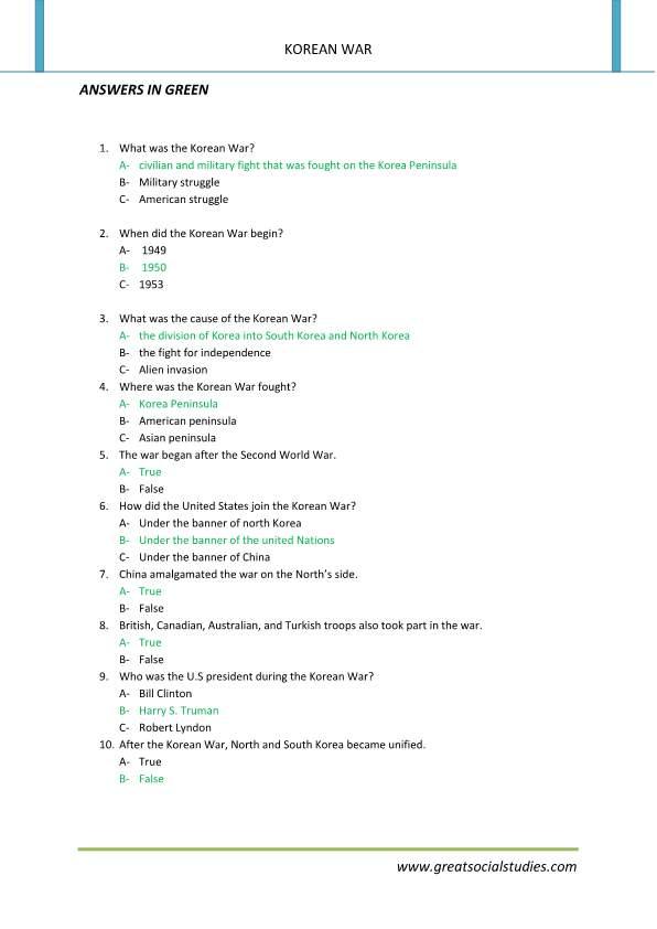 Printables Korean War Worksheet korean war summary facts worksheet works great works
